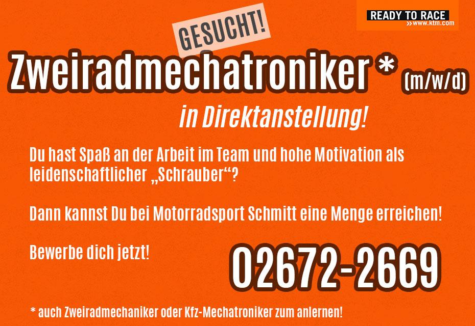 KTM Vertragshändler Motorradsport Schmitt - WIR STELLEN EIN !!